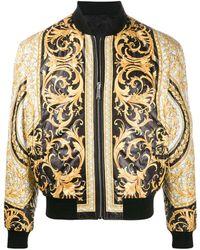 Versace バロックプリント ボンバージャケット - ブラック