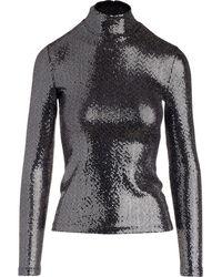 Rosetta Getty Sequin-embellished High-neck Top - Black