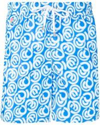 Kiton Abstract Print Swim Shorts - Blue