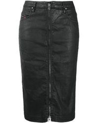 DIESEL Leather Pencil Skirt - Black