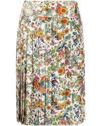 Tory Burch Falda plisada con motivo floral - Blanco