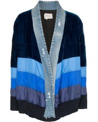 Greg Lauren Kimono-style Stripe Padded Jacket - Blauw