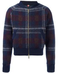 Thom Browne - Checked Knit Bomber Jacket - Lyst