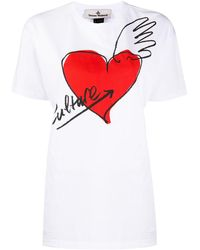 Vivienne Westwood Anglomania ハートプリント Tシャツ - ホワイト