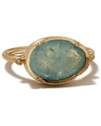 Brooke Gregson 14kt Yellow Gold Orbit Aquamarine And Diamond Ring - Blue