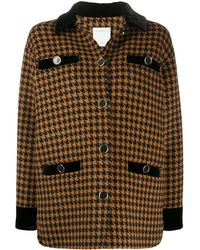 Sandro Tayla Dogtooth Print Wool Blend Coat - Multicolour