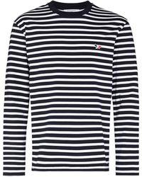 Maison Kitsuné ストライプ Tシャツ - ブルー
