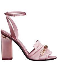 Burberry - Link Detail Perspex Heel Satin Sandals - Lyst