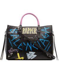 Balenciaga - Papier A6 Zip Around Graffiti Tote Bag - Lyst