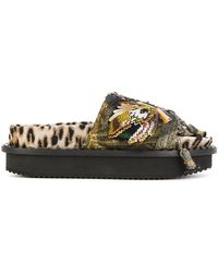 Antonio Marras - Embroidered Leopard Print Platform Sandals - Lyst