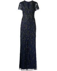 Aidan Mattox Bead-embellished Short-sleeve Dress - Blue