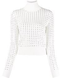 Liu Jo Stud-embellished Turtleneck Jumper - White