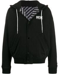 DIESEL Reversible Fleece Hooded Jacket - Black