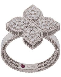 Roberto Coin 18kt White Gold Princess Flower Diamond And Ruby Ring - Metallic