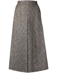 Dolce & Gabbana チェック スカート - ブラウン