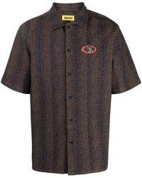 Chinatown Market Snake Print Short-sleeved Shirt - Brown