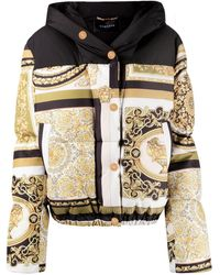 Versace Printed Puffer Jacket - Metallic