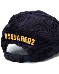 DSquared² Cord-Baseballkappe mit Patch - Blau