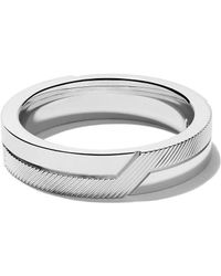 De Beers 18kt White Gold Promise Half Textured Band - Multicolor