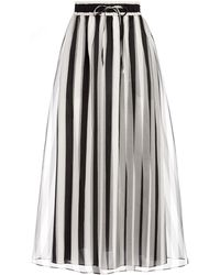 Alice + Olivia Dixie Striped Drawstring Waist Skirt - Black