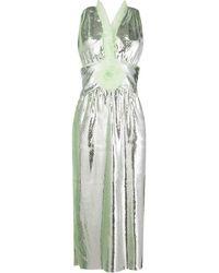 Marco De Vincenzo Ruffle Trim Midi Dress - Metallic