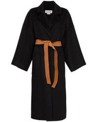 Loewe Пальто С Кожаным Поясом - Черный