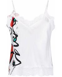 Esteban Cortazar Top estilo camisola con encaje bordado - Blanco