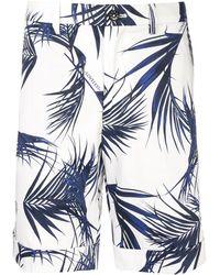 Loveless Leaf Print Bermuda Shorts - White