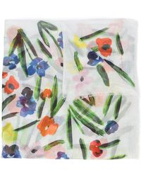 Oscar de la Renta - Painted Flowers Scarf - Lyst