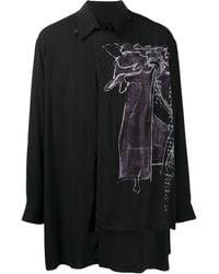 Yohji Yamamoto アブストラクトプリント シャツ - ブラック