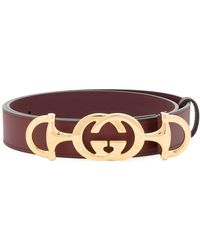 Gucci - Leather Belt With Interlocking G Horsebit - Lyst