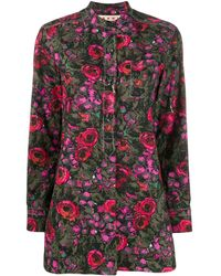 Marni Floral Band Collar Shirt - Pink