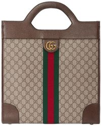 Gucci Ophidia GG Medium Top Handle Tote - Brown