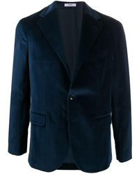 Boglioli Velvet-effect Single-breasted Blazer - Blue