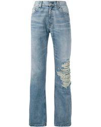 Warren Lotas Distressed Straight-leg Jeans - Blauw