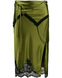 Alexander Wang Tie Fold Over Slip Skirt - Green