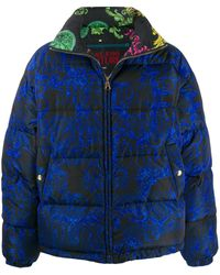 Versace Jeans バロックプリント パデッドコート - ブルー