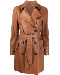 DESA NINETEENSEVENTYTWO Double Breasted Leather Trench Coat - Brown