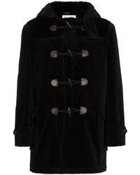 Saint Laurent Shearling Lined Corduroy Cotton Duffle Coat