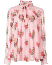 Adam Lippes Bluse mit Blumen-Print - Pink