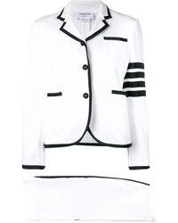 Thom Browne 4-bar Stripe Skirt Suit - White
