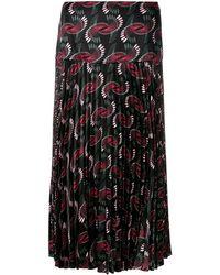 Fendi Geometric Print Pleated Skirt - Черный