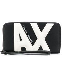 Armani Exchange モノグラム ファスナー財布 - ブラック