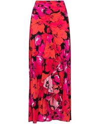 RIXO London Юбка С Завышенной Талией И Цветочным Принтом - Розовый