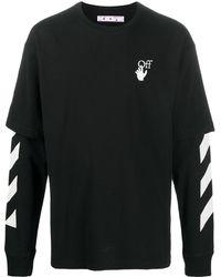 Off-White c/o Virgil Abloh Diagonal-stripe Double-sleeve Sweatshirt - Black
