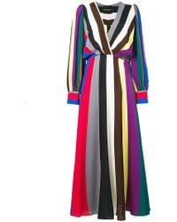 Erika Cavallini Semi Couture - Striped V-neck Dress - Lyst