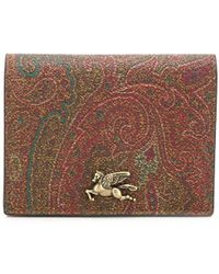 Etro Paisley-print Bi-colour Wallet - Brown