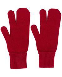 Maison Margiela Перчатки С Контрастной Строчкой - Красный