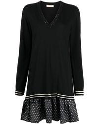 Twin Set Layered Drop-skirt Dress - Black