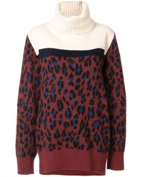 Sacai Leopard Print Roll Neck Jumper - Red
